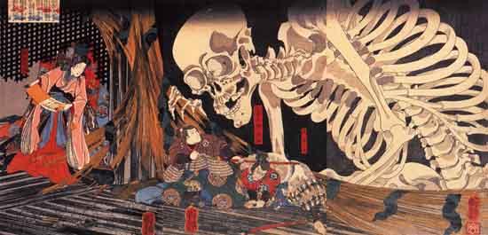 Mitsukuni_defying_the_skeleton_spectre_invoked_by_princess_Takiyasha